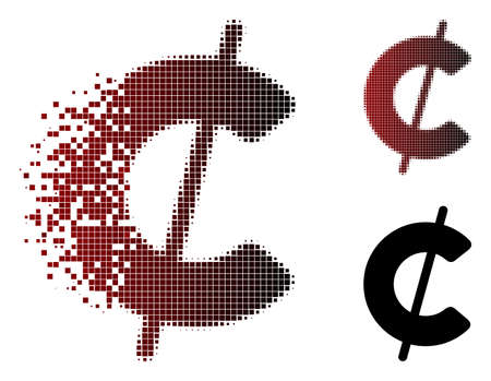Vector cent icon in dispersed, pixelated halftone and undamaged whole variants. Disappearing effect uses rectangle dots and horizontal gradient from red to black.