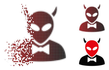 Vector devil icon in sparkle, pixelated halftone and undamaged solid variants. Disappearing effect uses square sparks and horizontal gradient from red to black.