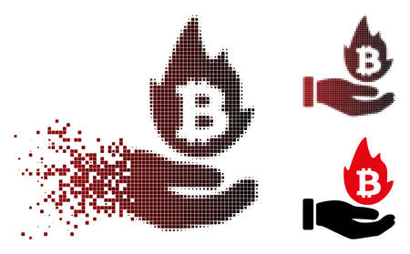 Vector hot cryptocurrency offer hand icon in sparkle, pixelated halftone and undamaged solid variants. Disappearing effect uses square dots and horizontal gradient from red to black. Illustration