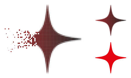 Vector space star icon in dissolved, dotted halftone and undamaged solid variants. Disappearing effect uses rectangle particles and horizontal gradient from red to black.