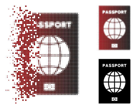 Vector world passport icon in fractured, pixelated halftone and undamaged solid versions. Disappearing effect uses square particles and horizontal gradient from red to black. Illustration