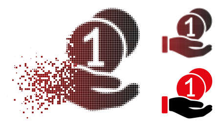 Vector coins payment hand icon in dissolved, dotted halftone and undamaged whole versions. Disappearing effect uses rectangular dots and horizontal gradient from red to black. Illustration