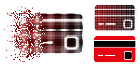 Vector credit card icon in dispersed, dotted halftone and undamaged solid variants. Disintegration effect uses rectangular dots and horizontal gradient from red to black.