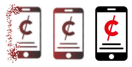 Vector mobile micropayment icon in sparkle, dotted halftone and undamaged solid versions. Disappearing effect involves rectangular dots and horizontal gradient from red to black.