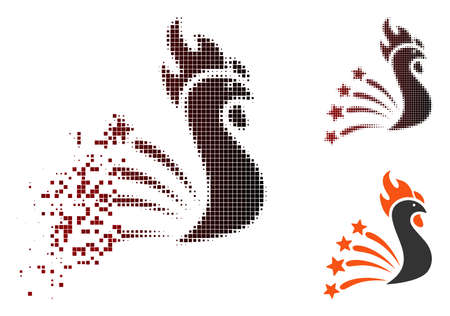 Vector rooster fireworks icon in sparkle, dotted halftone and undamaged solid versions. Disintegration effect uses rectangle sparks and horizontal gradient from red to black. Illustration