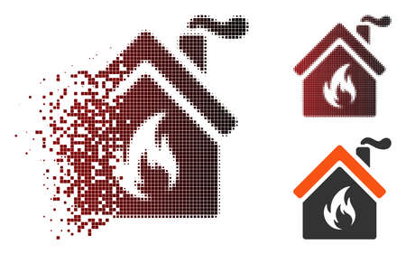 Vector kitchen fire icon in fractured, dotted halftone and undamaged solid versions. Disappearing effect uses rectangle particles and horizontal gradient from red to black.