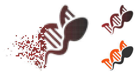 Vector sperm genome replication icon in dissolved, pixelated halftone and undamaged entire versions.
