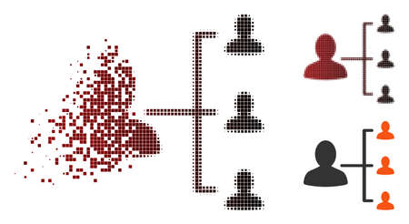 Vector user relations icon in dispersed, dotted halftone and undamaged solid variants. Disappearing effect involves square dots and horizontal gradient from red to black. Vectores