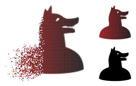 Man dog icon with face in fractured, pixelated halftone and undamaged solid variants. Particles are combined into vector dissolving man dog icon. Illustration
