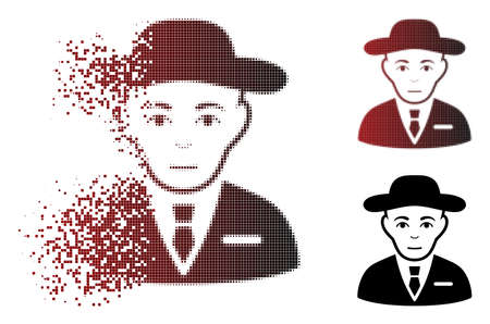 Secret service agent icon with face in sparkle, dotted halftone and undamaged whole variants. Pixels are grouped into vector disappearing secret service agent figure. Ilustração