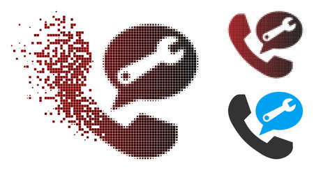Phone service message icon in dispersed, pixelated halftone and undamaged whole versions. Points are composed into vector dispersed phone service message figure.