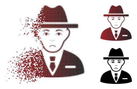 Sad agent icon in dispersed, pixelated halftone and undamaged solid variants. Pixels are combined into vector dissolving agent symbol. Human face has depressed emotion.