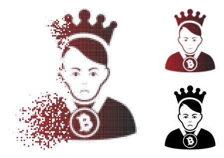 Sadly Bitcoin lord icon in sparkle, dotted halftone and undamaged whole versions. Elements are combined into vector sparkle Bitcoin lord icon. Person face has pitiful expression.