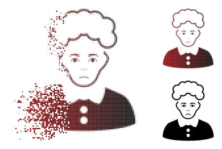 Sadly blonde woman icon in sparkle, dotted halftone and undamaged entire versions. Elements are arranged into vector dispersed blonde woman icon. Human face has sadly emotions. Ilustração