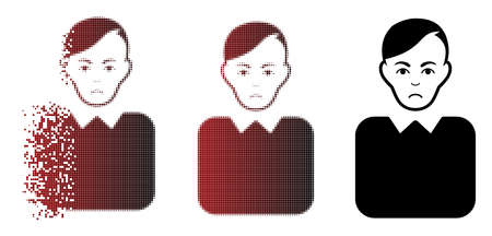 Sadly bureaucrat icon in dissolved, pixelated halftone and undamaged solid versions. Pixels are arranged into vector dissipated bureaucrat icon. Person face has unhappy mood.