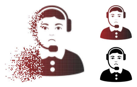 Unhappy call center operator icon in dispersed, pixelated halftone and undamaged whole variants. Fragments are arranged into vector disappearing call center operator figure. Ilustração