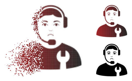 Sadly call center serviceman icon in dissolved, dotted halftone and undamaged solid versions. Fragments are composed into vector dissipated call center serviceman icon. Person face has dolor emotions.