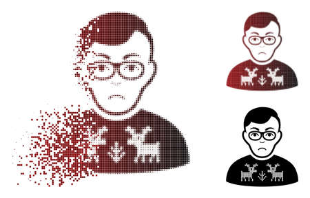 Sadly deers pullover downer icon in dispersed, pixelated halftone and undamaged entire versions. Points are organized into vector disappearing deers pullover downer icon. Ilustração