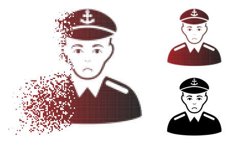 Pitiful captain icon in sparkle, dotted halftone and undamaged solid versions. Pixels are combined into vector sparkle captain symbol. Human face has unhappy expression.