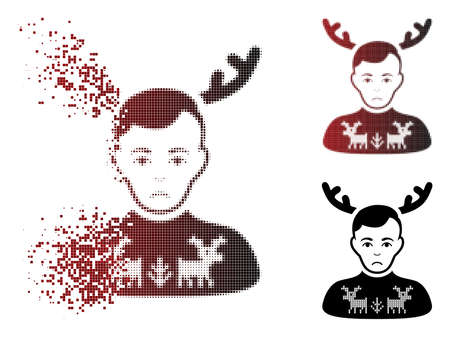 Dolor deers pullover horned husband icon in dispersed, dotted halftone and undamaged whole variants. Cells are combined into vector dissolving deers pullover horned husband icon. 矢量图像