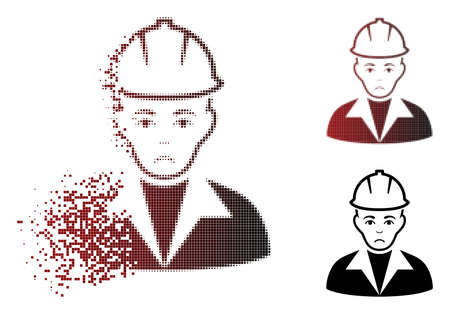 Unhappy engineer icon in dispersed, dotted halftone and undamaged whole variants. Particles are combined into vector sparkle engineer figure. Human face has dolour feeling.