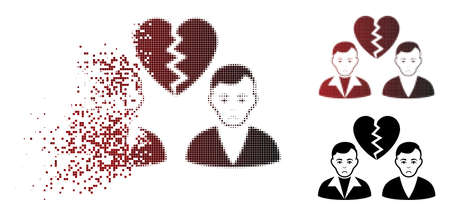 Sad divorce gays icon in sparkle, dotted halftone and undamaged solid variants. Pieces are organized into vector dissipated divorce gays icon. Person face has pitiful expression.
