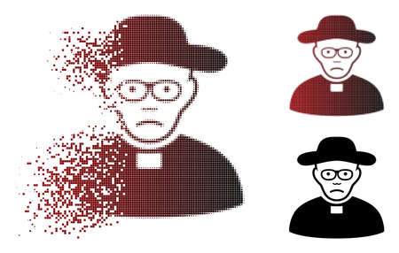 Sad church shepherd icon in dispersed, pixelated halftone and undamaged whole versions. Particles are organized into vector disappearing church shepherd figure. Person face has sadness emotion.