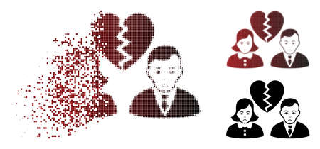 Sad divorce people icon in dissolved, pixelated halftone and undamaged entire versions. Cells are arranged into vector sparkle divorce people icon. Person face has pitiful expression.