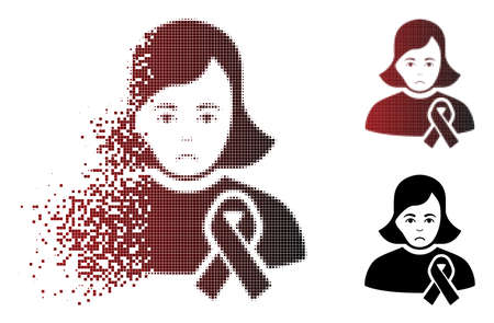 Unhappy girl with sympathy ribbon icon in dispersed, pixelated halftone and undamaged solid variants. Pixels are grouped into vector sparkle girl with sympathy ribbon icon.