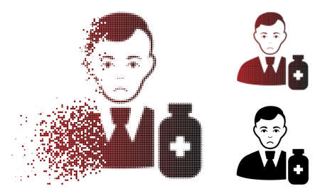 Dolor medical pharmacist icon in dissolved, dotted halftone and undamaged solid variants. Points are combined into vector disappearing medical pharmacist shape. Person face has dolor feeling. Illustration