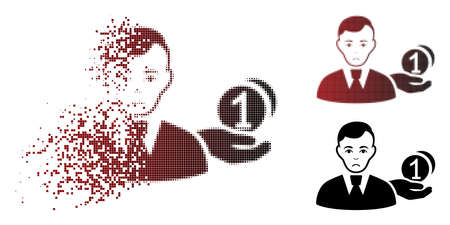 Unhappy money payer icon in dissolved, pixelated halftone and undamaged solid versions. Elements are combined into vector sparkle money payer symbol. Person face has unhappy expression.