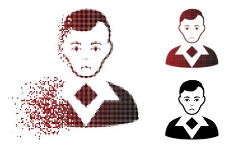Dolor man icon in dispersed, pixelated halftone and undamaged entire versions. Particles are organized into vector dispersed man pictogram. Person face has problem mood. Illustration