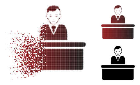 Sad office clerk icon in sparkle, dotted halftone and undamaged whole variants. Fragments are combined into vector sparkle office clerk pictogram. Person face has sad emotions.