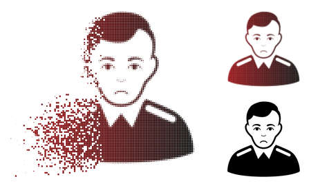 Unhappy officer icon in sparkle, pixelated halftone and undamaged entire variants. Fragments are arranged into vector sparkle officer pictogram. Human face has depressed emotions.