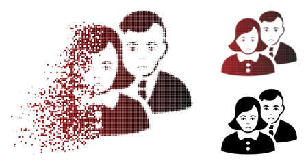 Unhappy people icon in dispersed, dotted halftone and undamaged whole variants. Pixels are organized into vector dispersed people shape. Person face has sad emotions. Illustration