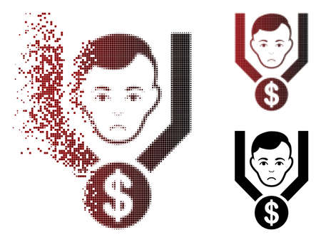 Dolor sales funnel client icon in dissolved, pixelated halftone and undamaged entire versions. Cells are combined into vector sparkle sales funnel client icon. Person face has desperate feeling.