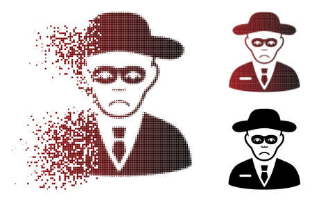 Pitiful security agent icon in dispersed, dotted halftone and undamaged entire variants. Pixels are combined into vector dissipated security agent icon. Person face has dolour emotion. Ilustração