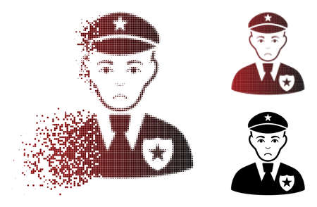 Dolor sheriff icon in dispersed, dotted halftone and undamaged whole variants. Particles are arranged into vector dispersed sheriff form. Human face has pitiful emotion.