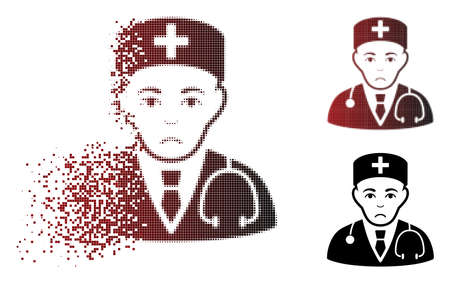 Sadly physician icon in sparkle, dotted halftone and undamaged solid versions. Pieces are organized into vector sparkle physician shape. Human face has stress emotions.