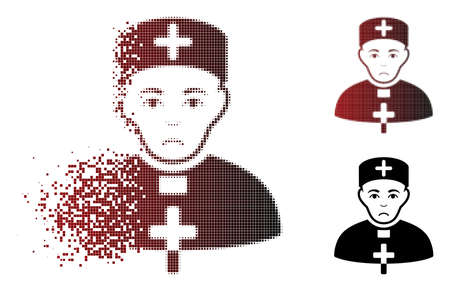 Dolor priest doctor icon in dispersed, pixelated halftone and undamaged solid versions. Points are arranged into vector dispersed priest doctor icon. Person face has stress mood.