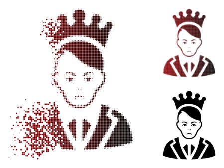 Sad prince icon in dispersed, dotted halftone and undamaged solid variants. Points are combined into vector dispersed prince form. Human face has sad feeling. Illustration