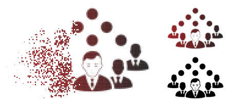 Sadly staff team icon in dissolved, dotted halftone and undamaged whole variants. Points are organized into vector disappearing staff team icon. Human face has depression emotions. Illustration