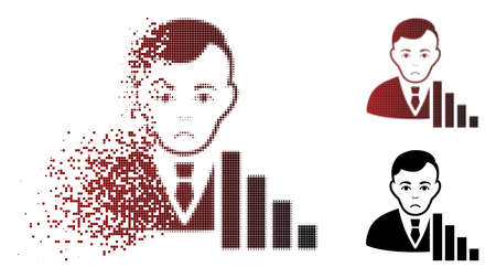 Unhappy stock trader icon in dispersed, dotted halftone and undamaged entire variants. Elements are combined into vector dispersed stock trader icon. Person face has problem emotions.