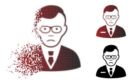 Sad specialist icon in dispersed, dotted halftone and undamaged solid versions. Points are grouped into vector disappearing specialist icon. Person face has grief emotion.