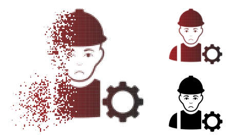 Dolor repairman icon in dispersed, dotted halftone and undamaged solid versions. Points are combined into vector sparkle repairman icon. Human face has sorrow emotion.