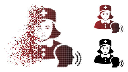 Pitiful psychotherapist nurse talking icon in sparkle, dotted halftone and undamaged entire versions. Particles are organized into vector disappearing psychotherapist nurse talking symbol.