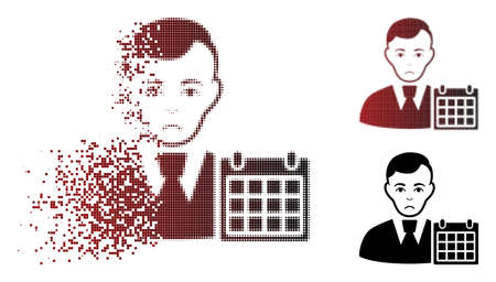 Sadly user calendar icon in sparkle, pixelated halftone and undamaged whole variants. Pixels are arranged into vector sparkle user calendar shape. Human face has depressed expression.