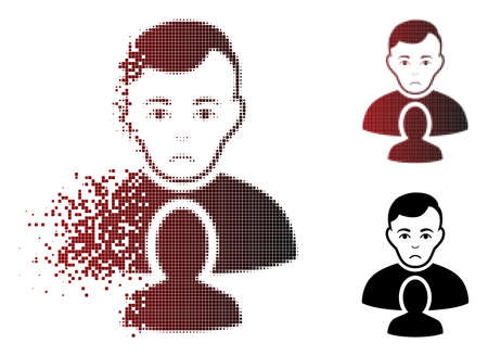 Pitiful user partner icon in fractured, dotted halftone and undamaged whole variants. Elements are combined into vector disappearing user partner figure. Human face has sadness sentiment.