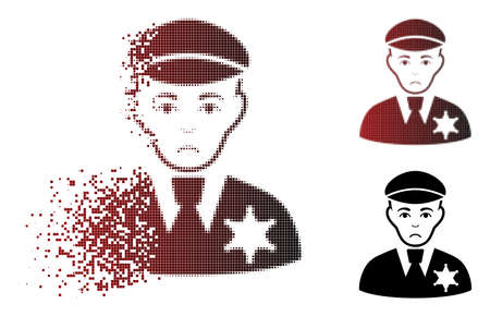 Sadly sheriff icon in dispersed, dotted halftone and undamaged entire variants. Pixels are arranged into vector disappearing sheriff icon. Human face has depression emotion.
