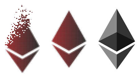 Ethereum crystal icon in dispersed, dotted halftone and undamaged solid versions. Elements are grouped into vector dispersed Ethereum crystal form.  イラスト・ベクター素材